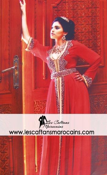 caftan marocain rouge en vente en ligne KAF S1076