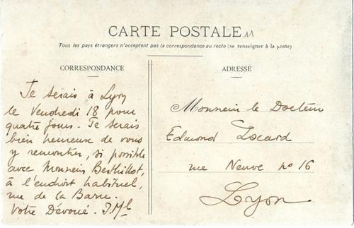 Une buvette à Bellecour, carte adressée à Edmond Locard en 1907