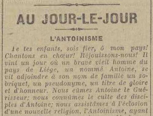 Au jour le jour, l'Antoinisme (Le matin 8 April 1914)
