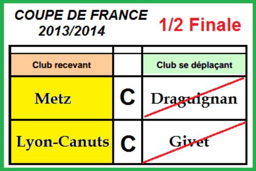 1/2 FINALE DE LA COUPE DE FRANCE 2013 / 2014.