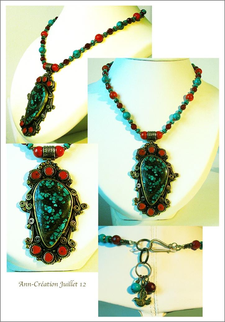 Collier Pendentif Népal - Turquoise, Corail rouge, Cornaline, Laiton