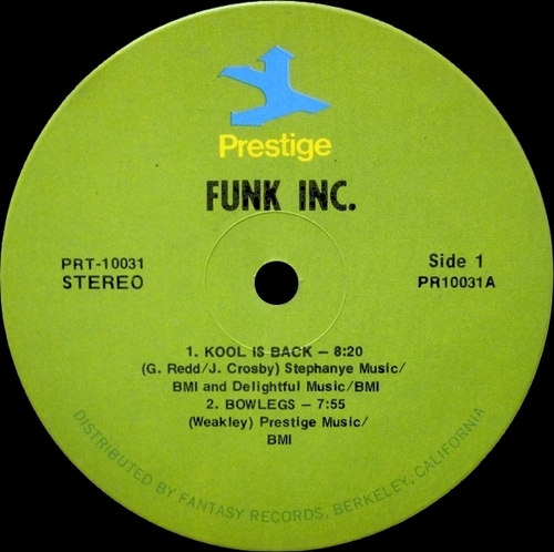 "Funk Inc. : Album "" Funk Inc. "" Prestige Records PRST 10031 [ US ]"