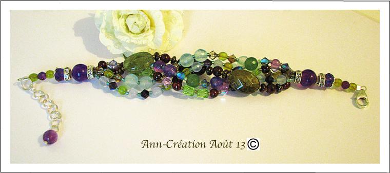 Bracelet cinq rangs multicolore, Grenat vert et rouge, Améthyste, Aigue-Marine... / Argent 925