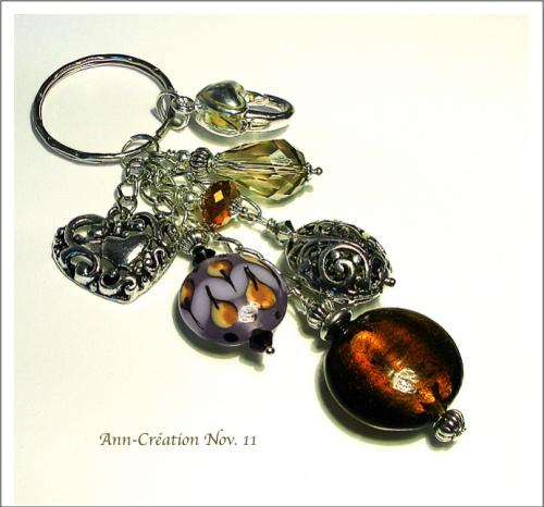 Porte-clés / Bijoux de Sac Verre Lampwork & Cristal Brun Argent