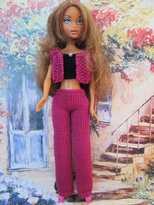 Ensemble top/boléro/pantalon pour barbie
