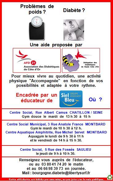 """Activités proposées par le groupe """"diabète"""" de Haute côte d'Or"""