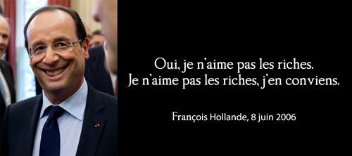 """""""Je n'aime pas les riches"""" F-Hollande"""
