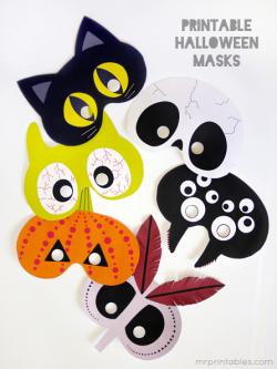 Masques, étiquettes d'halloween