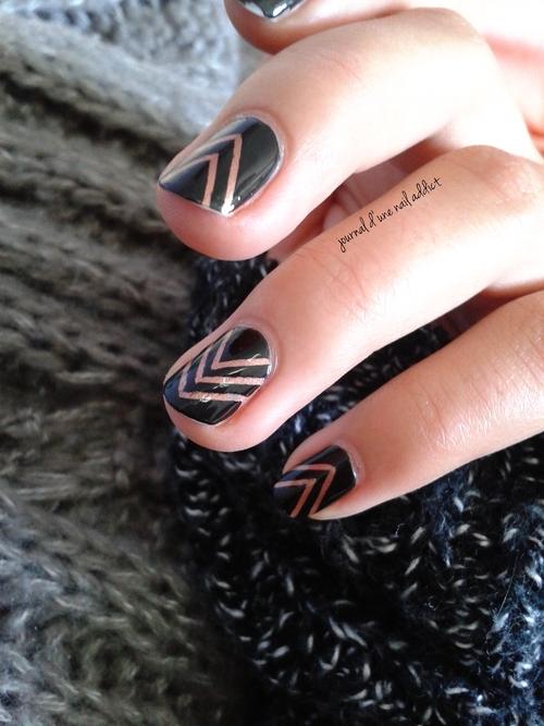 nail art chervons automnales