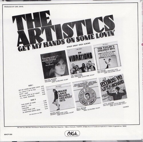 "The Artistics : Album "" Get My Hands On Some Lovin' "" Okeh Records OKM 1214110 [ US ]"