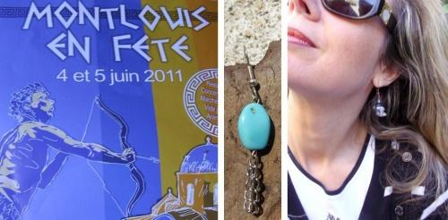 Boucles d'oreilles en pierres semi-précieuses Turquoise et Cristal de roche créées par Sylvie Le Brigant qui seront présentées lors de la manifestation Montlouis en fête les 4 et 5 juin 2011