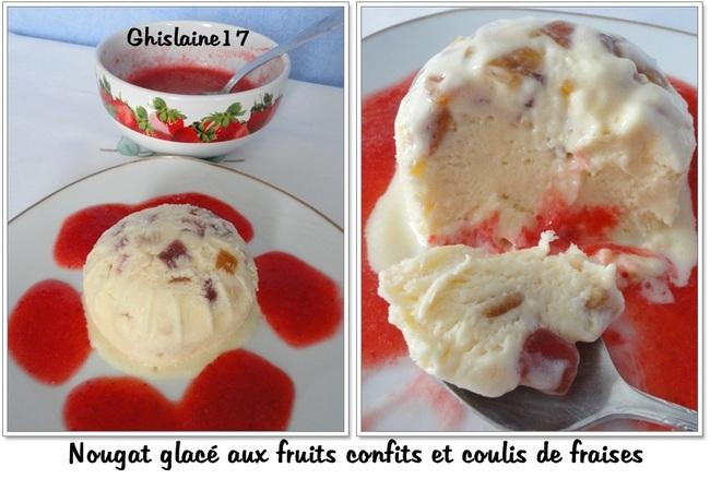 Nougat glacé aux fruits confits et coulis de fraises