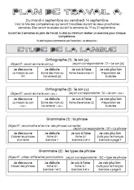 Extrem Plan de travail en cycle 3 - A l'école de Célestine GK66