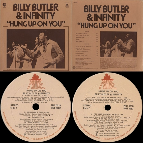 "Billy Butler & Infinity : Album "" Hung Up On You "" Pride Records PRD-0018 [ US ]"