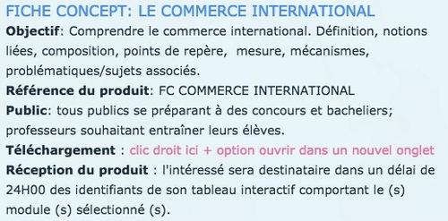 FICHE CONCEPT - LE COMMERCE INTERNATIONAL