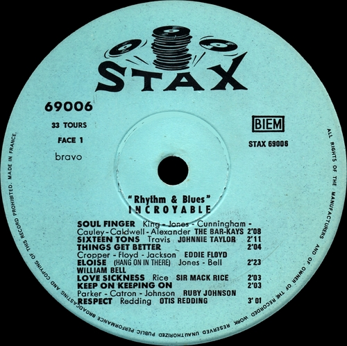"Série "" Incroyable Rhythm & Blues Vol 1 "" Stax Records 69006 [ FR ]"