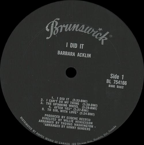 """Barbara Acklin :Album """" I Did It """" Brunswick Records BL 754166 [ US ]"""
