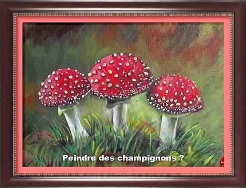 Dessin et peinture - vidéo 2997 : Comment peindre des champignons ? tutoriel de peinture étape par étape - démonstration à la peinture acrylique ou à l'huile.