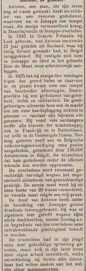 Antoine, de genezer (Nieuwe Amersfoortsche Courant, 6 juli 1912)