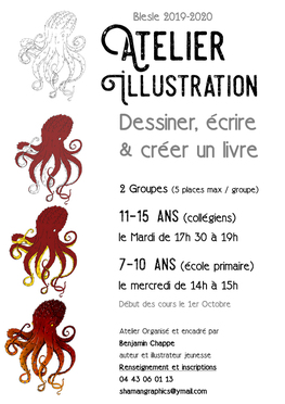 Atelier illustration à Blesle avec Benjamin Chappe