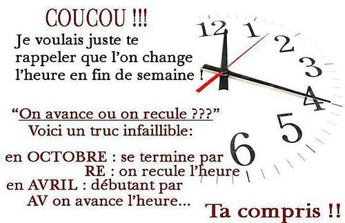 Changement d'heure !!!!