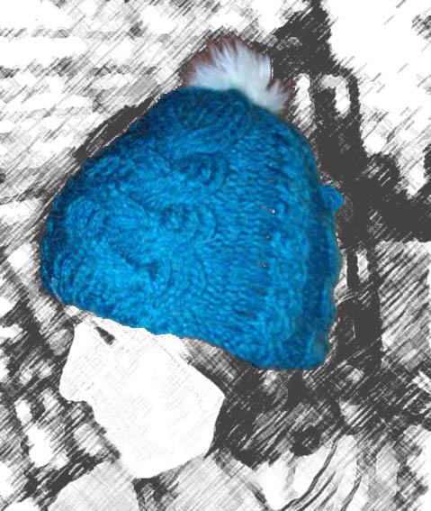 Bonnet torsades bleu