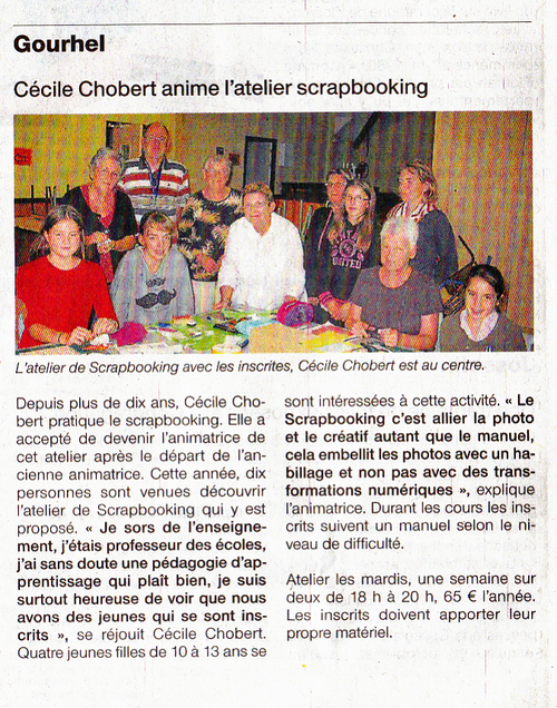 Article de Ouest France sur le scrapbooking