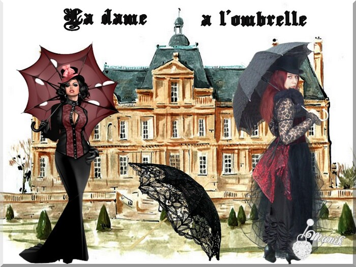 La dame sous l'ombrelle !!défi chez marjolaine !