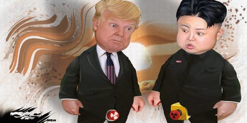 dessin de JERC du mardi 09 janvier 2018 caricature Donald Trump et Kim Jong un Confier le monde a des dirigeants matures !  www.facebook.com/jercdessin