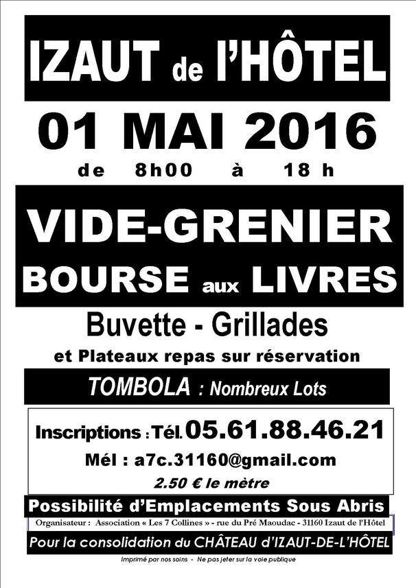 1er mai 2016  : Vide Grenier -Bourse aux Livres