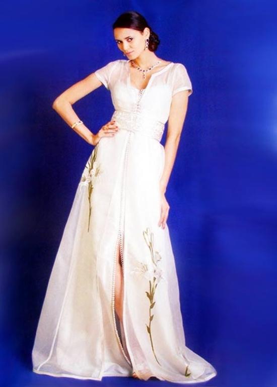 Takchita-marocain 2015 en manches courtes, réaliser sur mesure, de haute couture en ligne blancTAK-S874