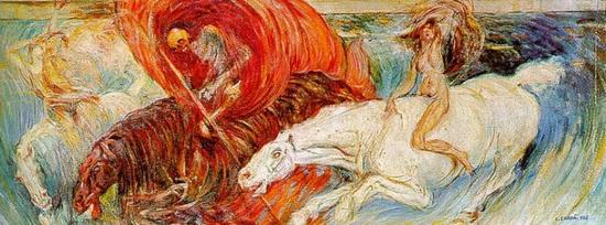 Carlo Carrà, Le cavalier de l'apocalypse, 1908