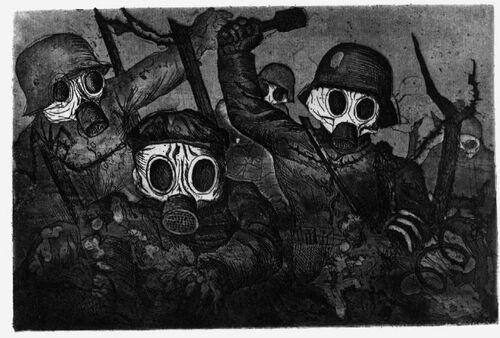 Otto Dix, Sturmtruppe geht unter Gas vor (Assaut sous les gaz), 1924 aquatinte, 35,3 x 47,5 cm