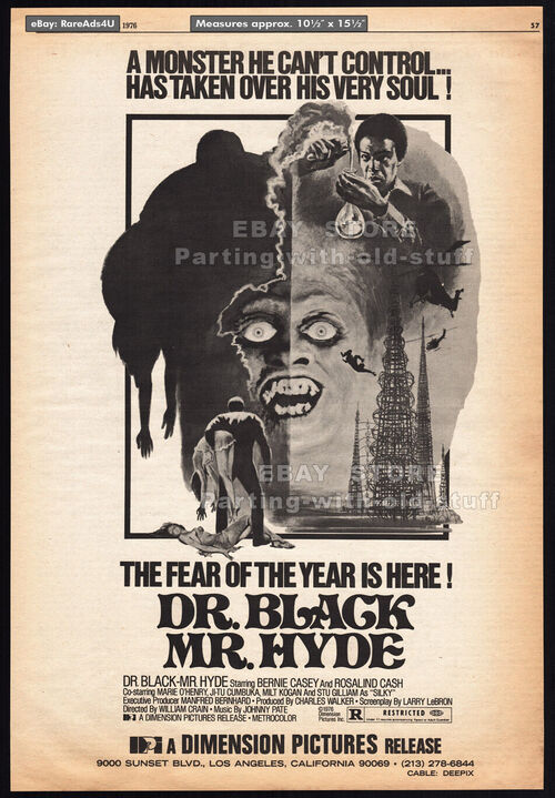 DR.BLACK MR.HYDE BOX OFFICE USA 1976