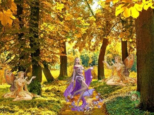 Fée de l'automne en fond de blog