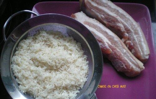 Porc cuit à la poitrine de riz
