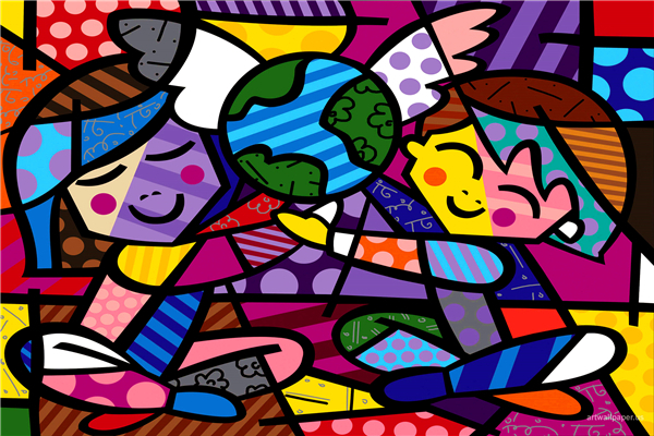 Free Shipping RB Painting Wallpapers Cartoon Kids World Custom Canvas Posters Romero Britto Stickers Home Decor #PN#949#