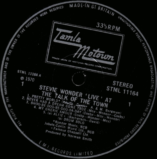 """Stevie Wonder : Album """" ' Live ' At The Talk Of The Town """" Tamla Motown Records 11164 [ UK ]"""