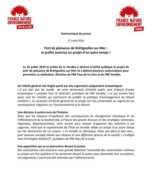 Port de plaisance de Brétignolles sur Mer : le préfet autorise un projet d'un autre temps !
