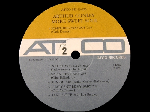 "Arthur Conley : Album "" More Sweet Soul "" Atco Records SD 33-276 [ US ]"