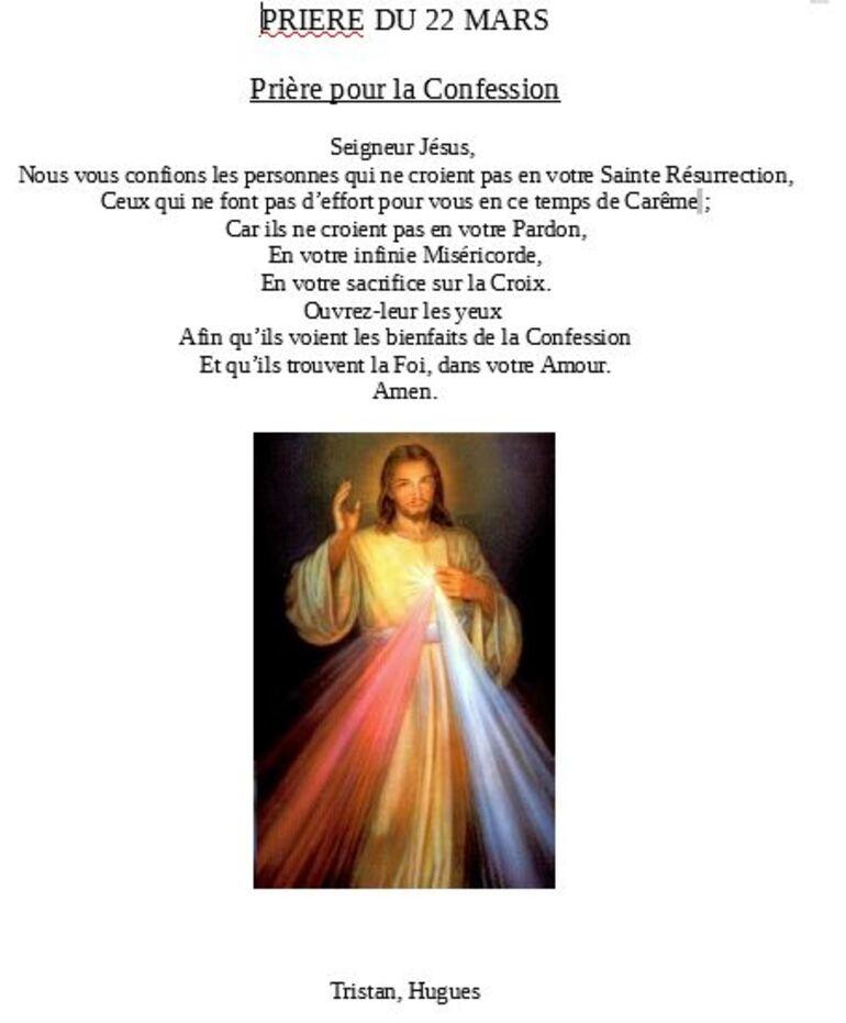 Prière du 22 mars