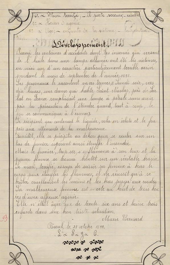Le Cahier de Marie Bernard ( pages de 41 à 51 ).