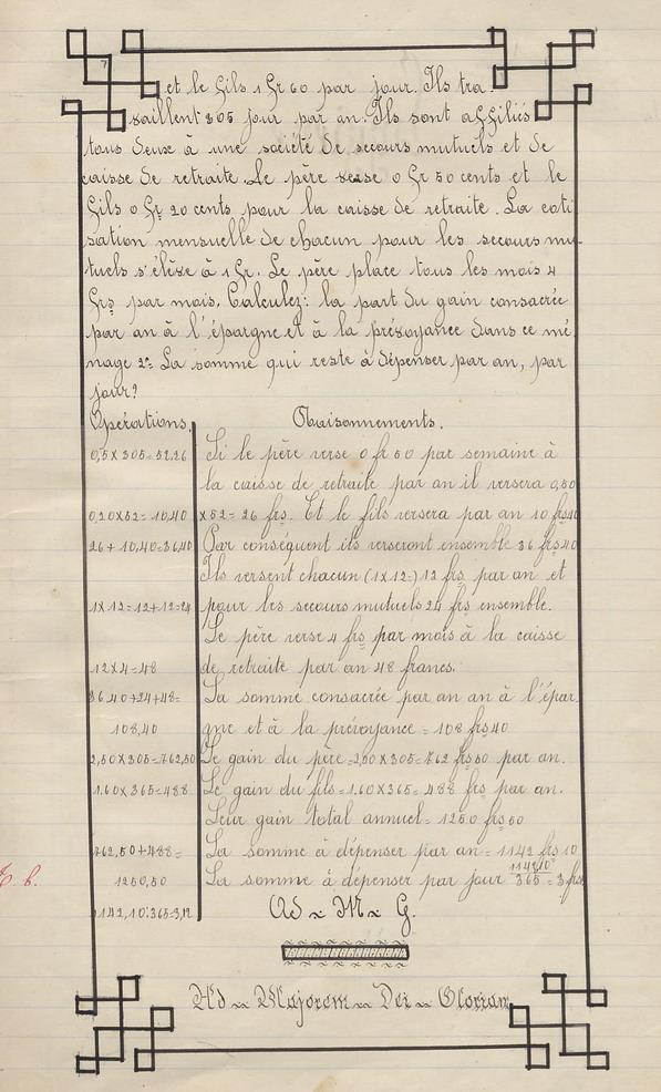 Le Cahier d'école de Marie Bernard ( pages de 52 à 60 ).