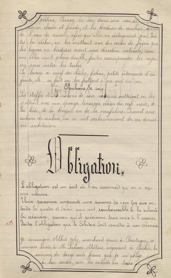 Le Cahier d'école de Marie Bernard ( pages de 70 à 81 ).