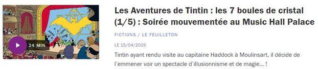 Tintin a 90 ans : trois histoires à écouter en audio ou podcast.
