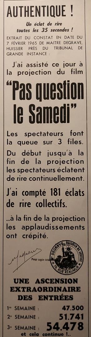 BOX OFFICE PARIS DU 3 FEVRIER 1965 AU 9 FEVRIER 1965