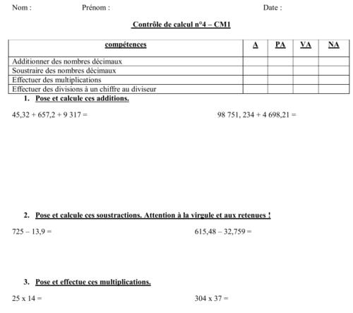 mathématiques : évaluation - contrôle de calcul - période 4 - CM1