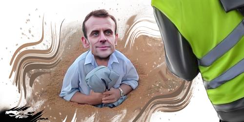 dessin de JERC et texte d'AKAKU du mercredi 09 janvier 2019 caricature Emmanuel Macron La chèvre au palais de l'enlisée... www.facebook.com/jercdessin