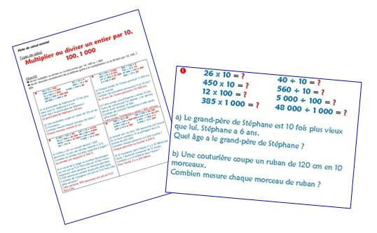 Multiplier ou diviser un entier par 10, 100, 1000 (fiche)