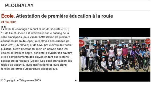 Le Télégramme - 24/05/2012_Attestation de première éducation à la route